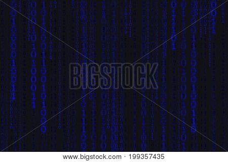 Binary code black and blue background with digits on screen Concept of digital age. Algorithm binary data code decryption and encoding row matrix illustration background.