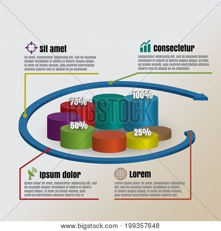 Design template: Circle Cylinder Vector illustration of business infographics