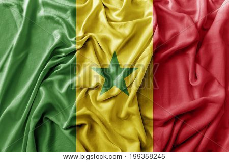 Ruffled waving Senegal flag national flag close