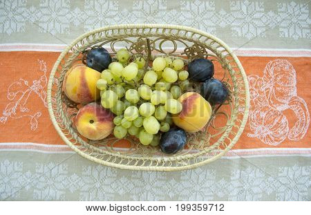 Mix of fruits on the table for guests cafe