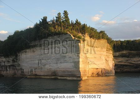 Battleship row.  A rock formation in Upper Peninsula of Michigan, Pictured Rocks National Lakeshore