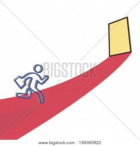 Businessman running to Goal door, business concept, template