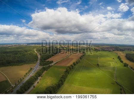 Aerial Photo Of The Landscape Near The City Of Herzogenaurach In Bavaria In Germany