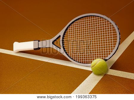 Tennis racket with ball on hard surface clay court. 3D illustration
