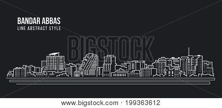 Cityscape Building Line art Vector Illustration design - Bandar Abbas city