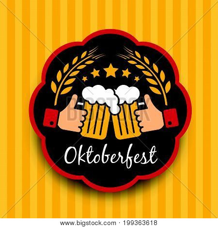 Oktoberfest with hand hold Clink glasses sign and Balley rice in circle frame on yellow vertical  background vector design