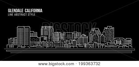Cityscape Building Line art Vector Illustration design - Glendale California city