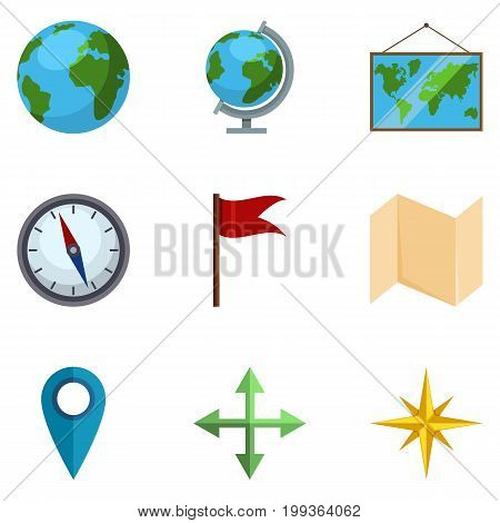 Vector Set Of Geo Icons. Geographical School Pictograms