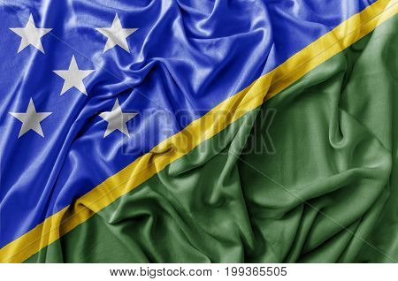 Ruffled waving Solomon Islands flag national flag