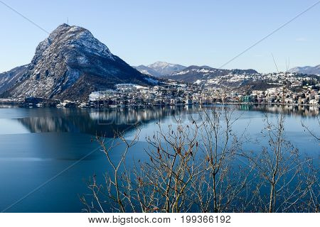 View To The Bay Of Lugano On Switzerland