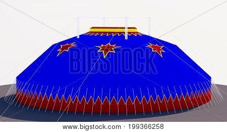 3D chapiteau, circus, four mast,  four king pole model, blue red, tent,