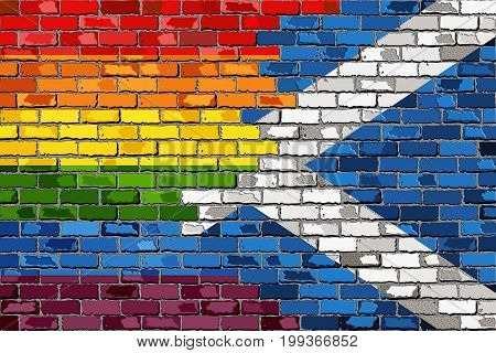 Brick Wall Scotland and Gay flags with effect - 3D Illustration, Scottish flag & Rainbow flag  on brick textured background,  Abstract grunge Scotland flag and LGBT flag