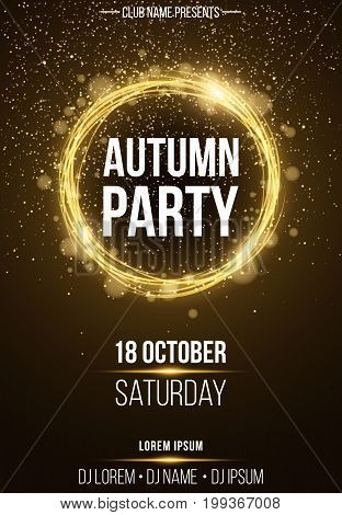 Background vertical poster for autumn party. Shining golden banner with golden dust. Abstract yellow lights. Seasonal poster. DJ and club name. Vector illustration