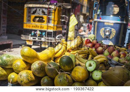 Indian City Street At Jodhur, India.