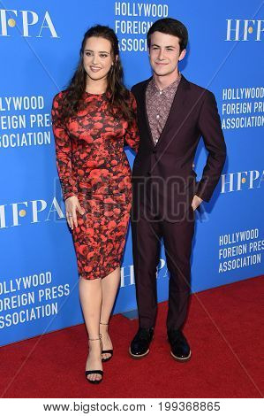LOS ANGELES - AUG 02:  Katherine Langford and Dylan Minnette arrives for the HFPA's Grants Banquet on August 2, 2017 in Beverly Hills, CA
