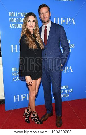 LOS ANGELES - AUG 02:  Armie Hammer and Elizabeth Chambers arrives for the HFPA's Grants Banquet on August 2, 2017 in Beverly Hills, CA