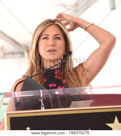 LOS ANGELES - JUL 26:  Jennifer Aniston Walk of Fame honors Jason Bateman on July 26, 2017 in Hollywood, CA