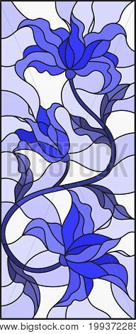 Illustration in stained glass style with abstract swirlsflowers and leaves on a light backgroundgamma blue
