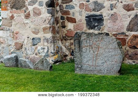 Rune Stone From The Viking Ages, About A Thousand Years Old, Uppsala, Sweden