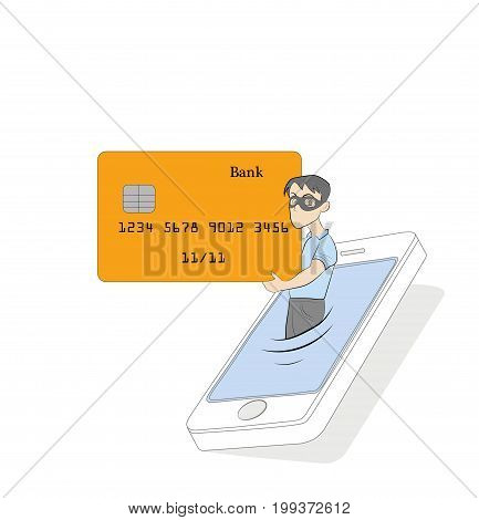 Vector illustration in modern flat linear style - hacker stealing credit card data in the process of mobile payment - email viruses, bank account hacking and fraud concept