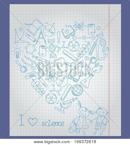 Illustration on the theme of school and science the contour of icons on the topic of the exact Sciences in the shape of a heart on notebook sheet in a cage a boy m the girl pupils and the words I love science