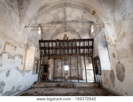 Interior of an abandoned and deserted Christian orthodox church of saint Artemios at the village of Afania in Northen Cyprus.