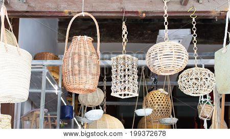 Wicker lamps bags and baskets ready for sale.