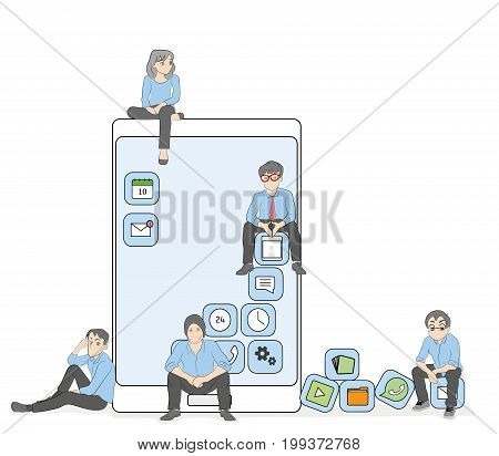 Young men and women sitting on mobile application icons and using a smartphone and laptop to read news and text messages for friends. Flat concept illustration of application dependency. vector