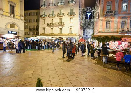 People Shopping On The Christmas Market Of Lugano, Switzerland
