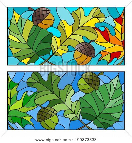 The illustrations in the stained glass style with leaves of maple oak aspen and acorns