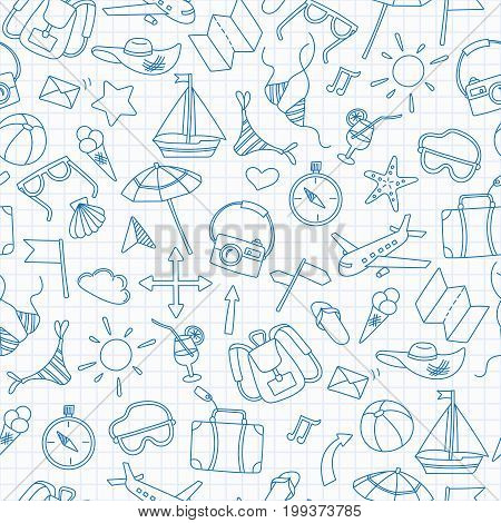 Seamless background with simple hand-drawn icons on the theme of summer and vacation blue contour icons on the clean writing-book sheet in a cage