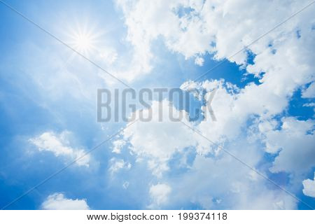 Beautiful heaven sky with clouds and sunrise.
