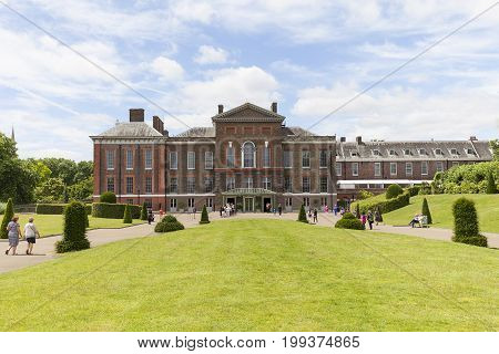 LONDON UNITED KINGDOM - JUNE 23 2017: Kensington Palace set in Kensington Gardens. It has been a residence of the British Royal Family since the 17th century and Queen Victoria's birthplace