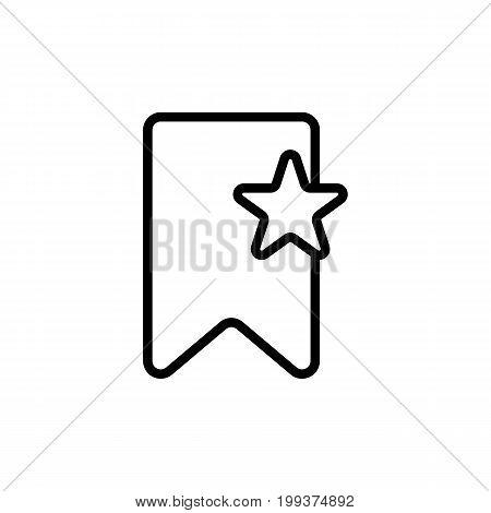 Thin Line Bookmark Icon On White Background