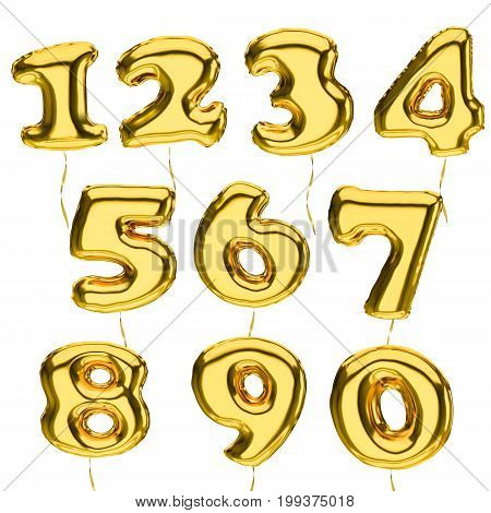 Golden metallic Balloon 3d Numbers vector set isolated on white background.