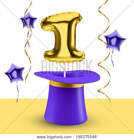 Balloon vector Number one and magic hat poster design concept for anniversary happy birthday solemn event
