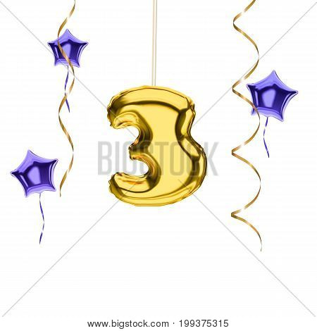 3d balloon number 3 vector isolated on white background banner concept for anniversary and congratulations