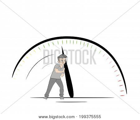 man down arrow on the speedometer of the car. Concept of speed. vector illustration.