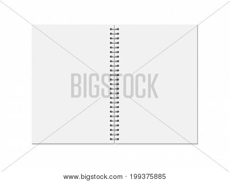 Mock up blank open notebook isolated on white background. Template spiral copybook or organizer. Vertical vector illustration