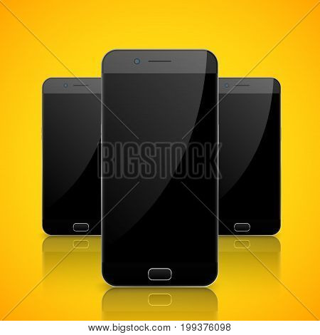 Smartphone, mobile phone isolated. Blank screen mobile vector. Cellphone communication technology.