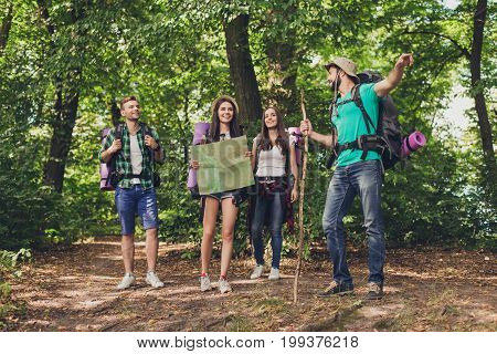 Camping, Trekking, Wild Life Concept. Four Best Friends Are Hiking In The Spring Woods, The Guy Is S