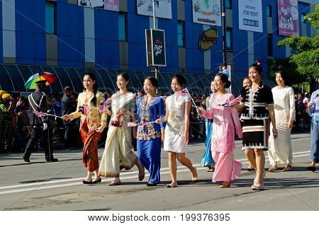 Kota Kinabalu, Malaysia - August 31, 2016: Multicultural Malaysian Participate In 59Th Independence