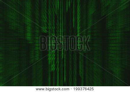 Binary code motion splash green and black background with digits on screen Concept of business digital age. Algorithm binary data code decryption and encoding row matrix illustration background.