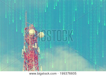 Telecommunication tower in cellular network with Binary code bits concept of communication wireless digital age and data network.