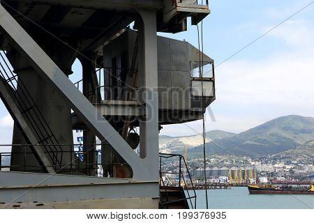 Part Of Crane In Seaport