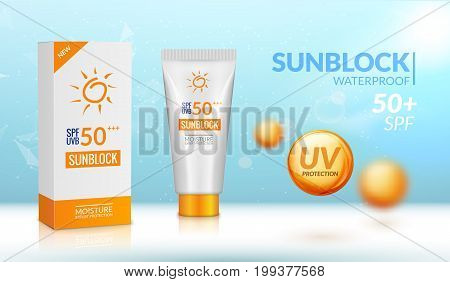 Sunblock ad template. Sun protection cosmetic. Moisturizer cream vector design background.