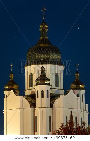Urban church against a starry night sky