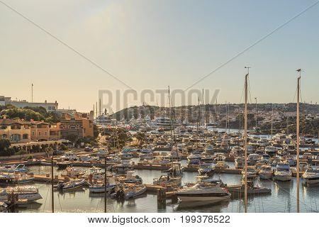 White yachts in the port, Porto-Cervo, Sardinia, Italy. July 2017.