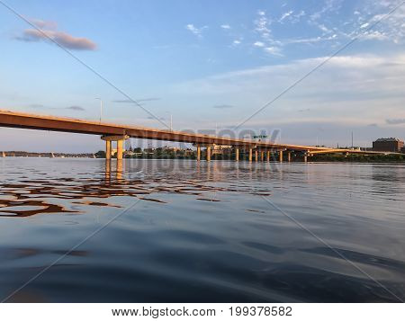 Westmorland Bridge over the Saint John River at sunset near downtown Fredericton New Brunswick in The Maritimes or Atlantic Canada