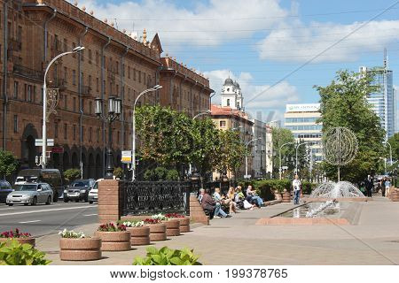 MINSK, BELARUS - AUGUST 01, 2013: Lenin Street in Minsk. One of the central streets of the city with samples of soviet buildings of the middle XX century and a catholic church of the XVIII century.
